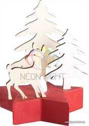 Деревянная фигурка с подсветкой Олененок в лесу 9-8-10 см